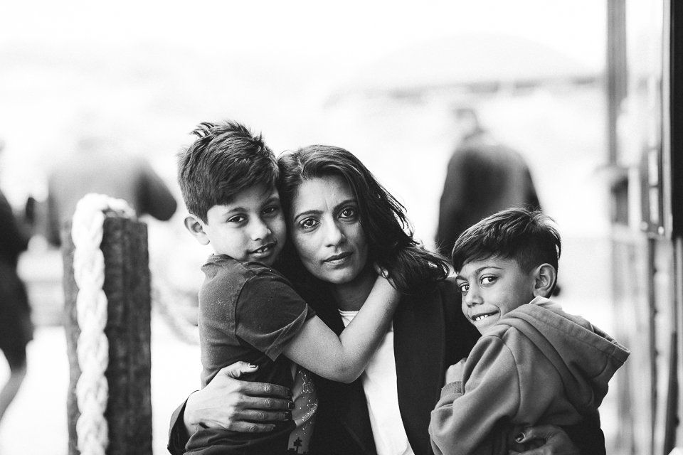 mum with boys hugging black and white portrait