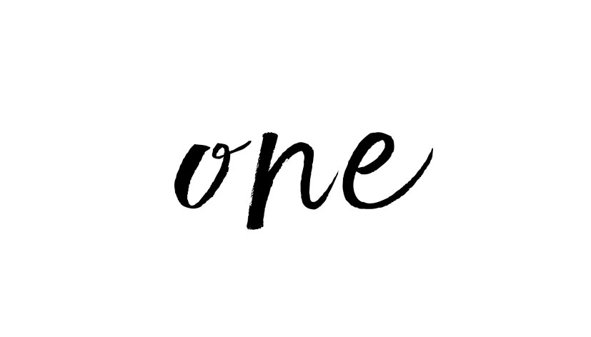 the word one in script
