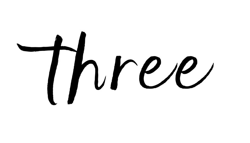 the word three in script