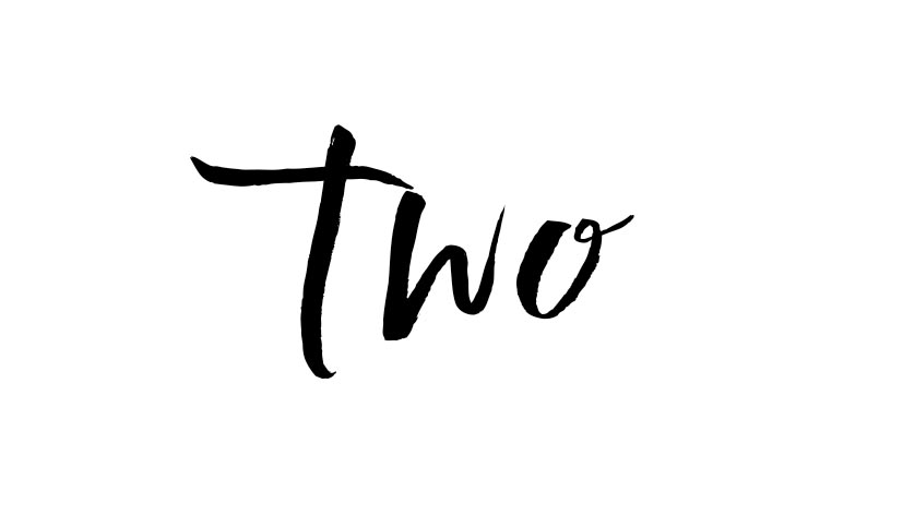 the word two in script