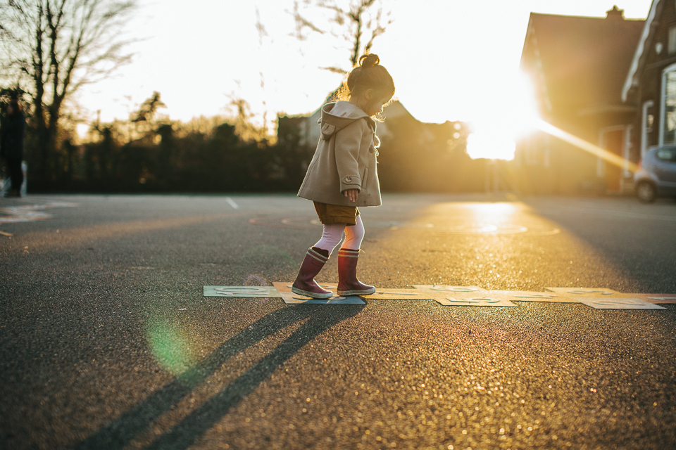 hopscotch in the sunset school playground